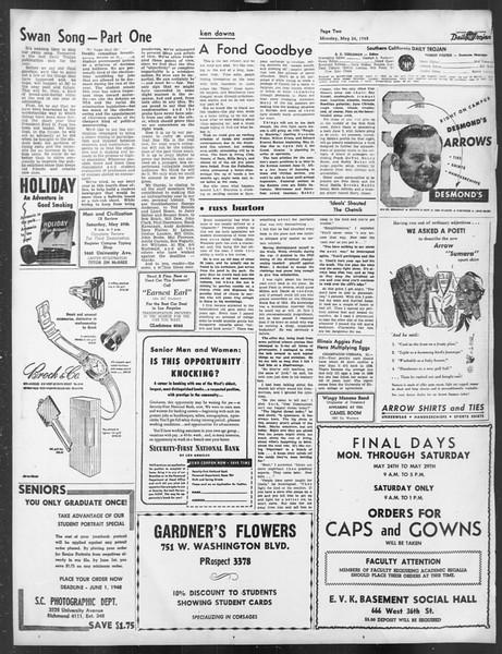 Daily Trojan, Vol. 39, No. 146, May 24, 1948