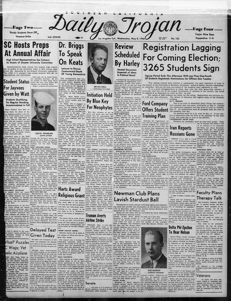 Daily Trojan, Vol. 37, No. 123, May 08, 1946