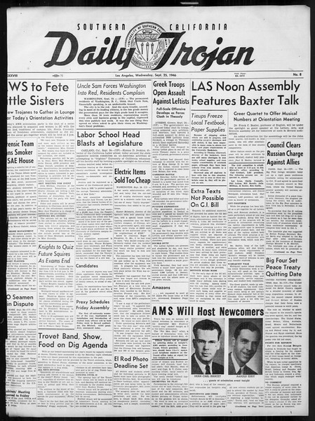 Daily Trojan, Vol. 38, No. 8, September 25, 1946