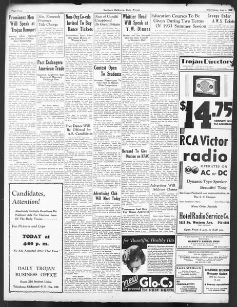 Daily Trojan, Vol. 24, No. 135, May 03, 1933
