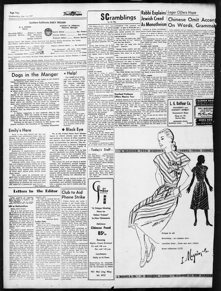 Daily Trojan, Vol. 38, No. 115, April 16, 1947