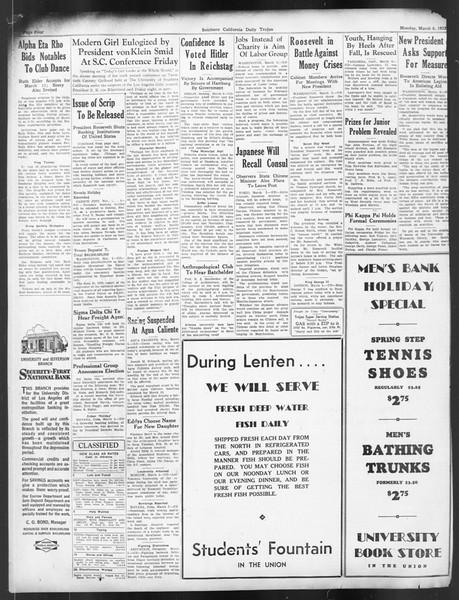 Daily Trojan, Vol. 24, No. 98, March 06, 1933