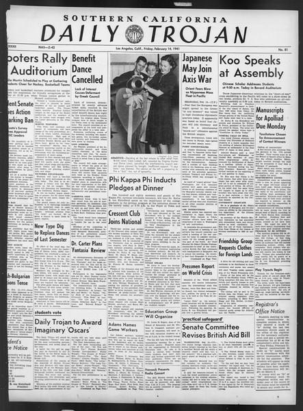 Daily Trojan, Vol. 32, No. 81, February 14, 1941