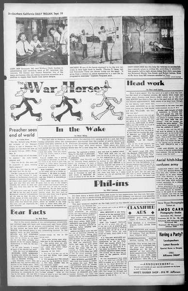 Daily Trojan, Vol. 36, No. 203, September 19, 1945