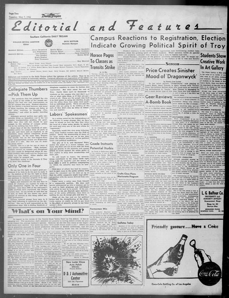 Daily Trojan, Vol. 37, No. 122, May 07, 1946