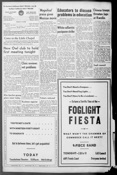 Daily Trojan, Vol. 36, No. 161, July 20, 1945