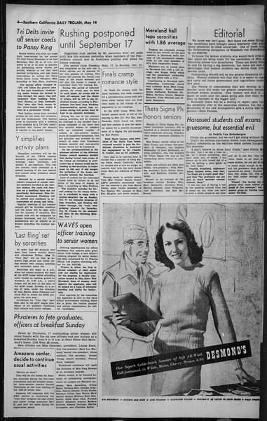 Daily Trojan, Vol. 34, No. 147, May 14, 1943