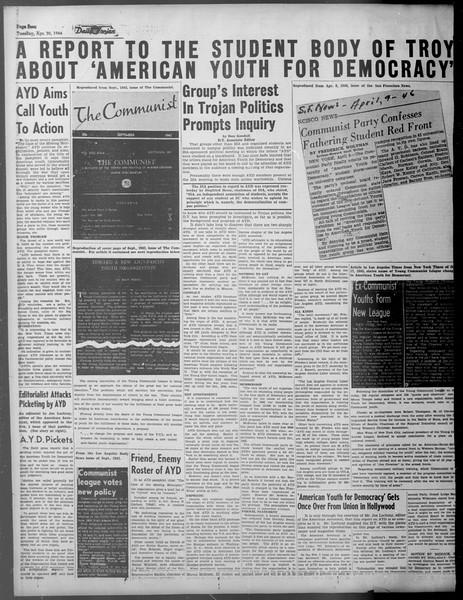 Daily Trojan, Vol. 37, No. 117, April 30, 1946