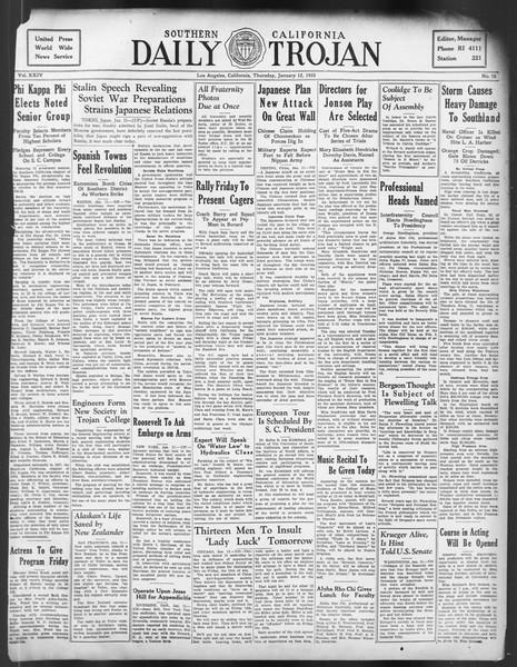 Daily Trojan, Vol. 24, No. 70, January 12, 1933