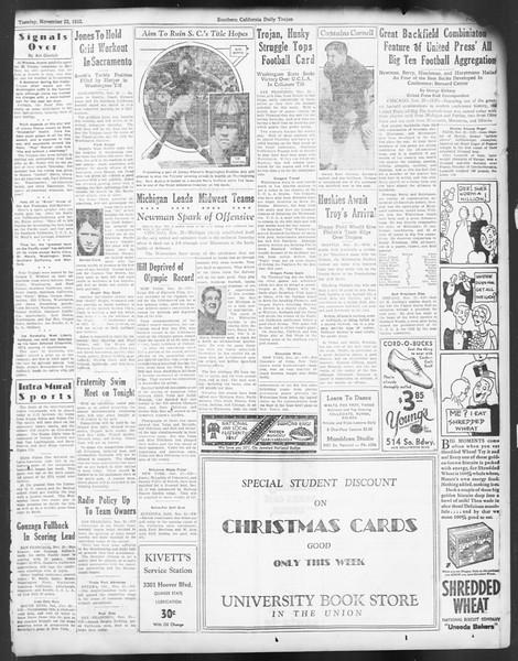 Daily Trojan, Vol. 24, No. 51, November 22, 1932