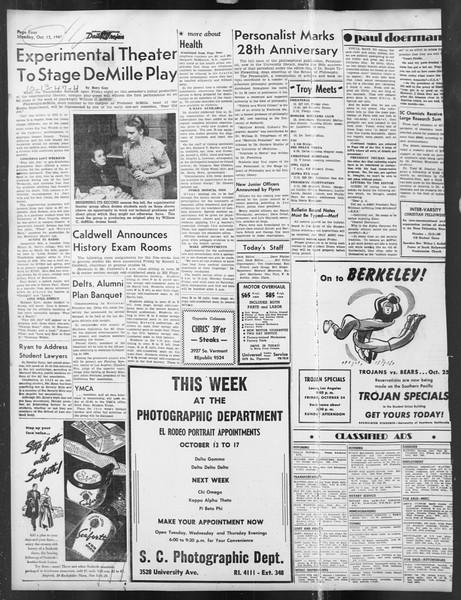 Daily Trojan, Vol. 39, No. 21, October 13, 1947