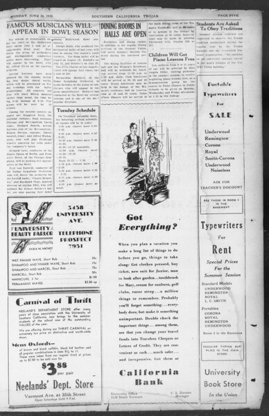 Southern California Trojan, Vol. 11, No. 1, June 20, 1932