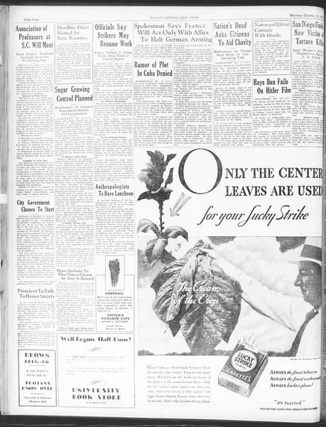 Daily Trojan, Vol. 25, No. 17, October 16, 1933
