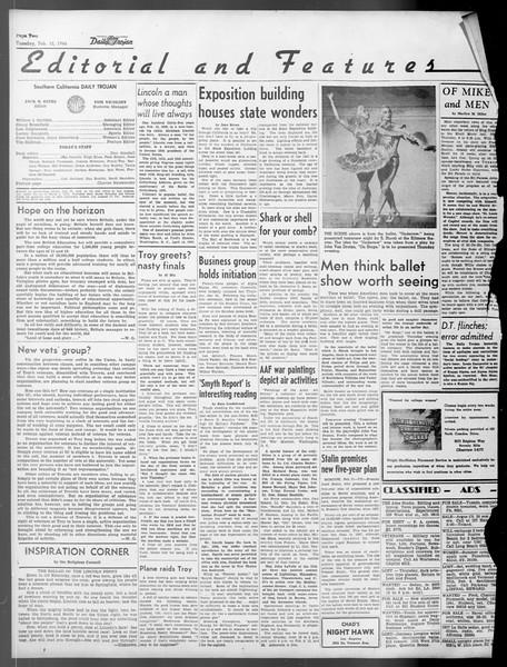 Daily Trojan, Vol. 37, No. 69, February 12, 1946