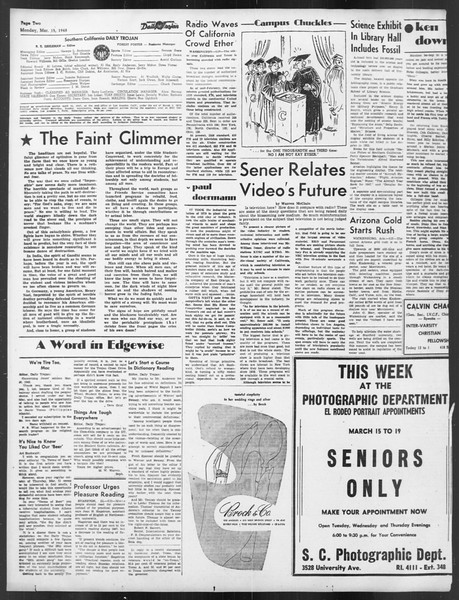 Daily Trojan, Vol. 39, No. 99, March 15, 1948