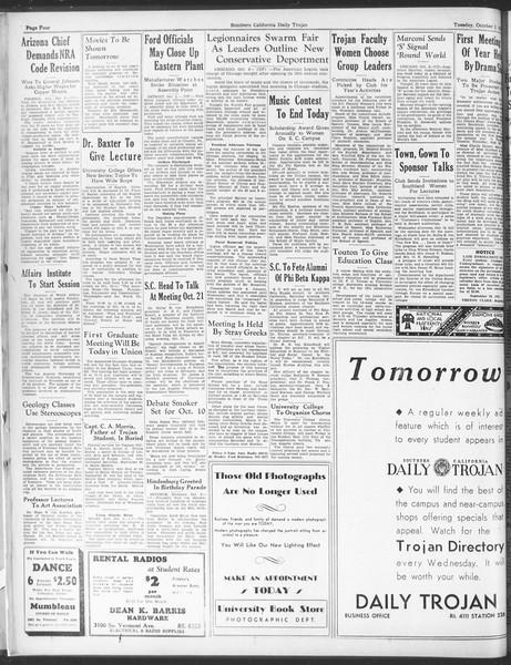 Daily Trojan, Vol. 25, No. 8, October 03, 1933