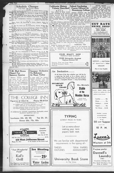 Southern California Trojan, Vol. 12, No. 2, June 23, 1933