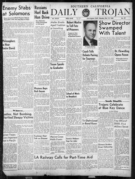 Daily Trojan, Vol. 34, No. 22, October 19, 1942