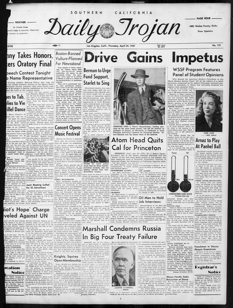 Daily Trojan, Vol. 38, No. 121, April 24, 1947