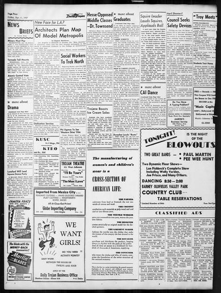Daily Trojan, Vol. 38, No. 112, April 11, 1947