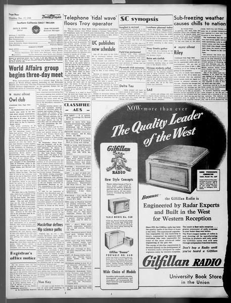 Daily Trojan, Vol. 37, No. 32, December 17, 1945