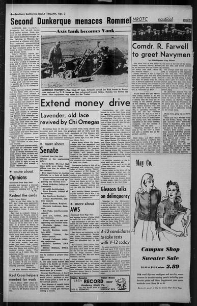 Daily Trojan, Vol. 34, No. 118, April 02, 1943
