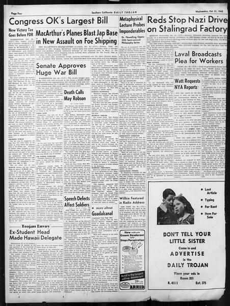 Daily Trojan, Vol. 34, No. 24, October 21, 1942