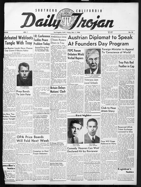 Daily Trojan, Vol. 38, No. 35, November 01, 1946