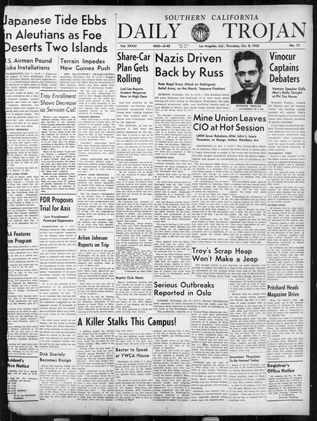 Daily Trojan, Vol. 34, No. 15, October 08, 1942