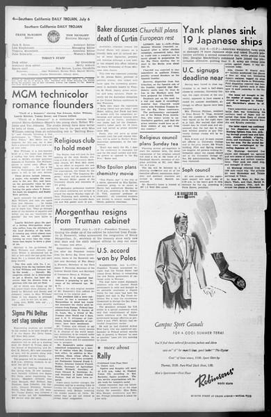 Daily Trojan, Vol. 36, No. 151, July 06, 1945