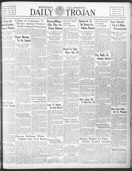 Daily Trojan, Vol. 25, No. 15, October 12, 1933