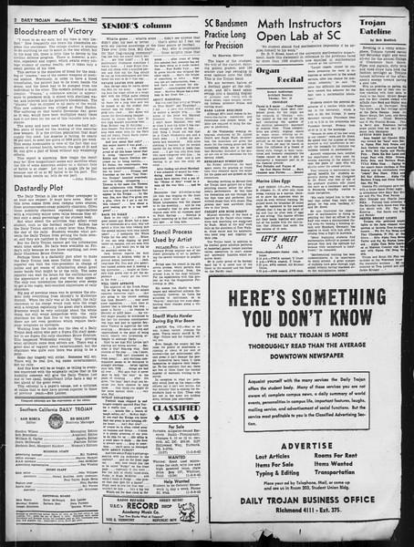 Daily Trojan, Vol. 34, No. 36, November 09, 1942