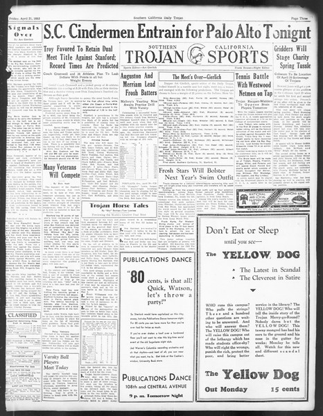 Daily Trojan, Vol. 24, No. 128, April 21, 1933