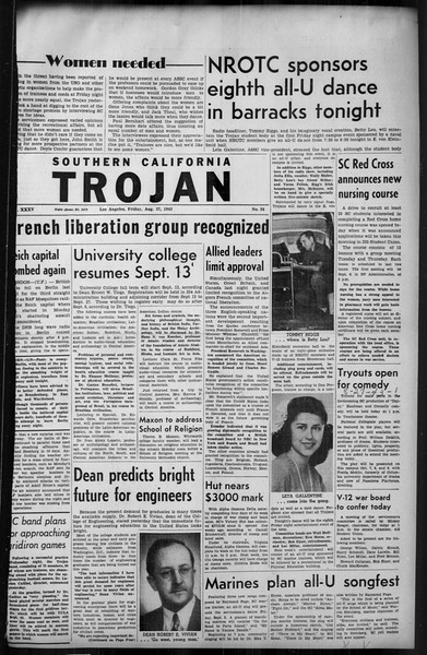 Southern California Trojan, Vol. 35, No. 24, August 27, 1943