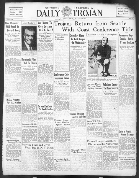 Daily Trojan, Vol. 24, No. 53, November 28, 1932
