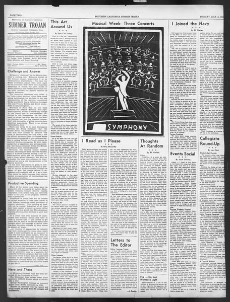 Summer Trojan, Vol. 19, No. 7, July 16, 1940