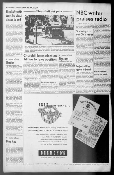 Daily Trojan, Vol. 36, No. 166, July 27, 1945