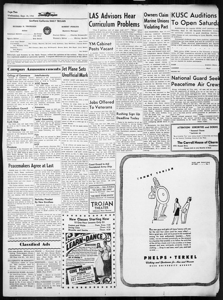 Daily Trojan, Vol. 38, No. 3, September 18, 1946