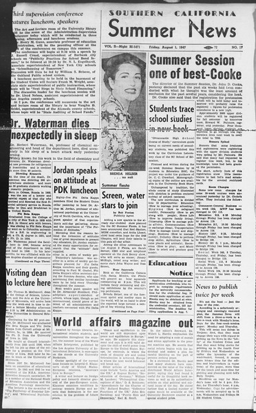 Summer News, Vol. 2, No. 17, August 01, 1947