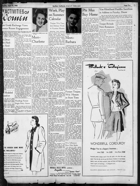 Daily Trojan, Vol. 34, No. 1, September 16, 1942