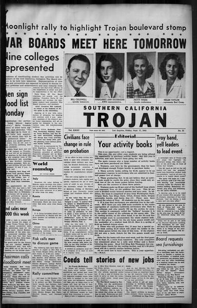 Southern California Trojan, Vol. 35, No. 33, September 17, 1943