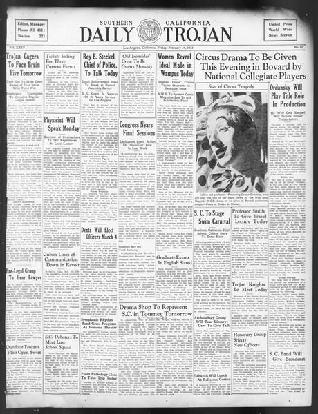 Daily Trojan, Vol. 24, No. 92, February 24, 1933