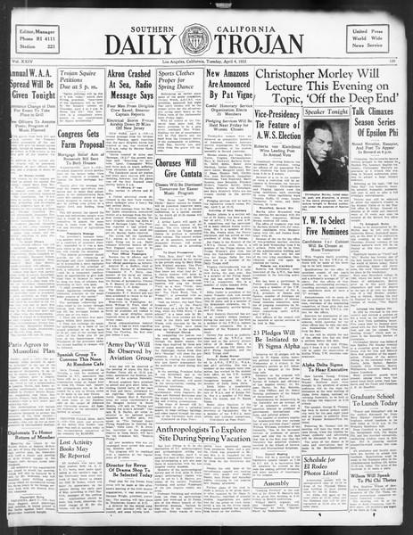 Daily Trojan, Vol. 24, No. 120, April 04, 1933