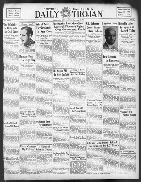 Daily Trojan, Vol. 24, No. 83, February 10, 1933