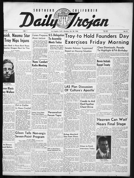 Daily Trojan, Vol. 38, No. 31, October 28, 1946