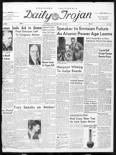 Daily Trojan, Vol. 38, No. 94, March 13, 1947