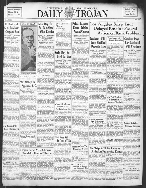 Daily Trojan, Vol. 24, No. 100, March 08, 1933