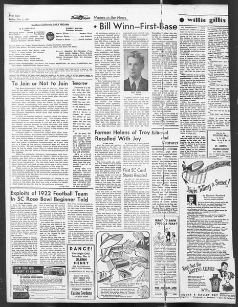 Daily Trojan, Vol. 39, No. 57, December 05, 1947