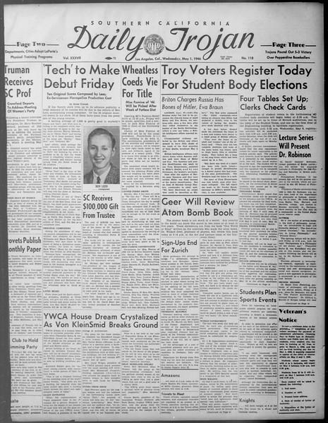 Daily Trojan, Vol. 37, No. 118, May 01, 1946