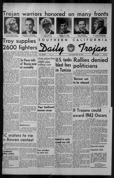 Daily Trojan, Vol. 34, No. 92, February 25, 1943
